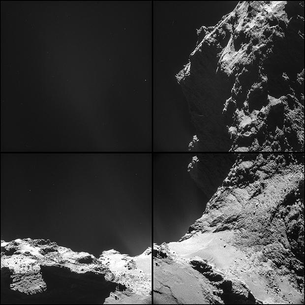 Le noyau de la comète 67P. Images prises le 18 octobre 2014 par la NavCam à près de 7,8 km de la surface (résolution de 66 à 92 cm/pixel environ ; pose de 6 s). Crédits : ESA/Rosetta/NavCam.