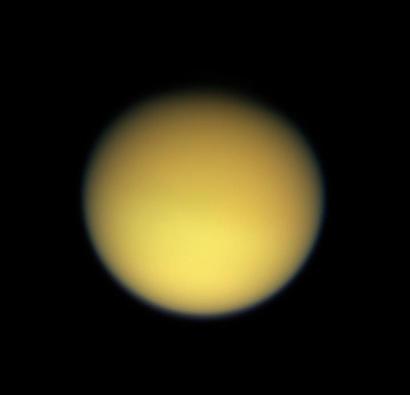 Titan and its orange haze; credits: Nasa/JPL/Space Science Institute