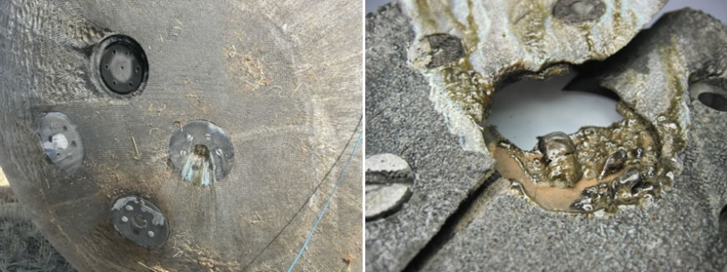 The sample holders containing the rocks exposed to atmospheric re-entry conditions are clearly visible. One of them has been torn away with its rock. Right, a close-up of one of the rocks fused by the heat of re-entry.