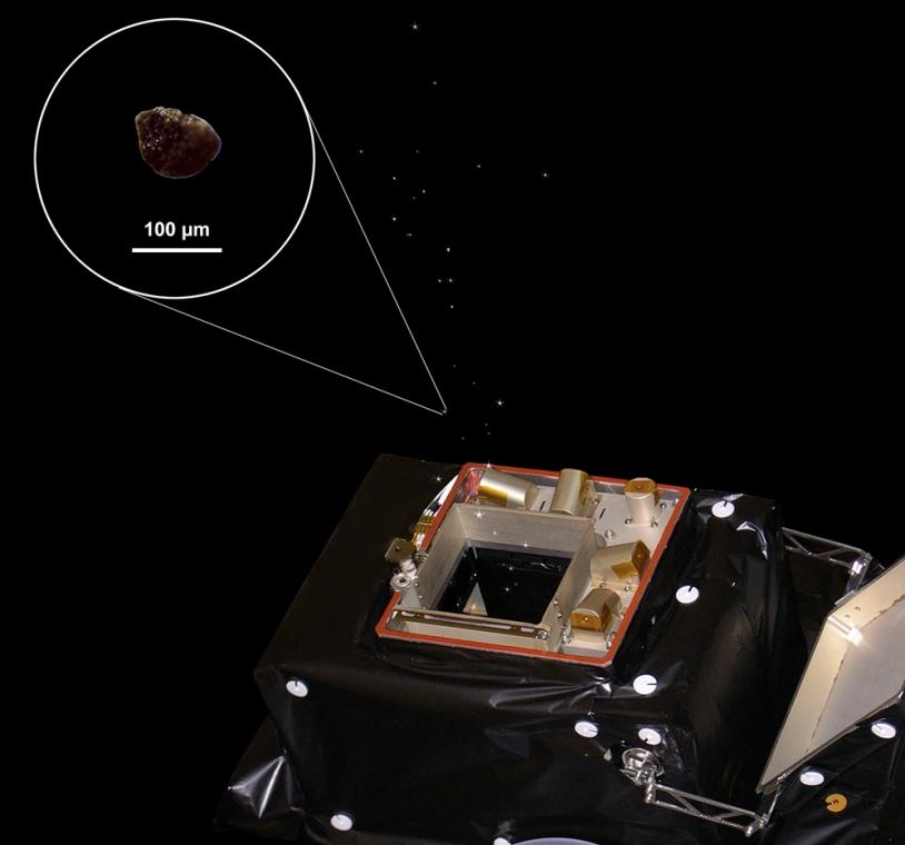 GIADA est l'un des 3 instruments capables de fournir des données sur les poussières présentes dans la chevelure de la comète (le grain montré ici a servi à la calibration de GIADA).