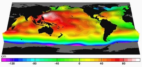 Topographie dynamique des océans vue par l'altimétrie. Crédits : CNES