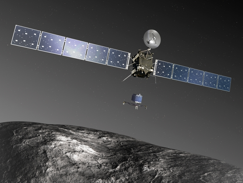 Le petit robot Philae sera largué à 510 millions de km de la Terre le 12 novembre 2014. Crédits : ESA–C. Carreau/ATG medialab.