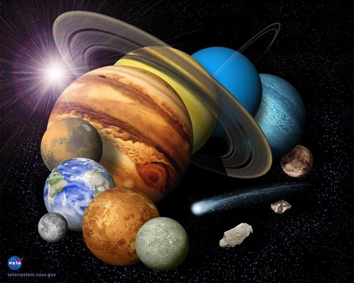 Les planètes du système solaire, Pluton incluse. Crédits Nasa/JPL